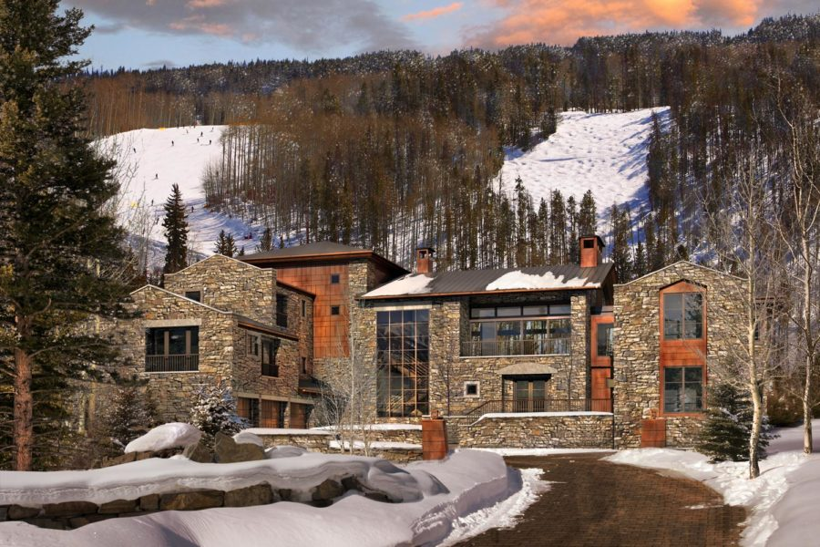 446 Forest Road, Vail, Colorado residence front exterior in winter